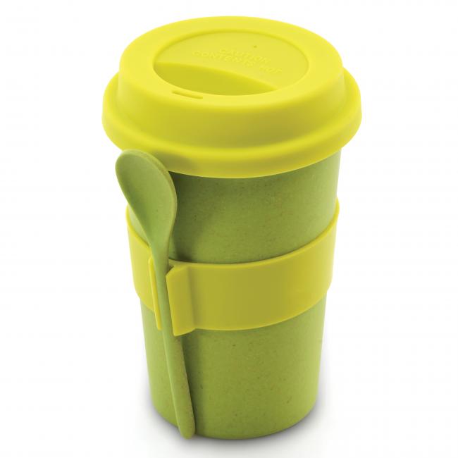ماگ قهوه برگهف با قاشق -سبز رنگ